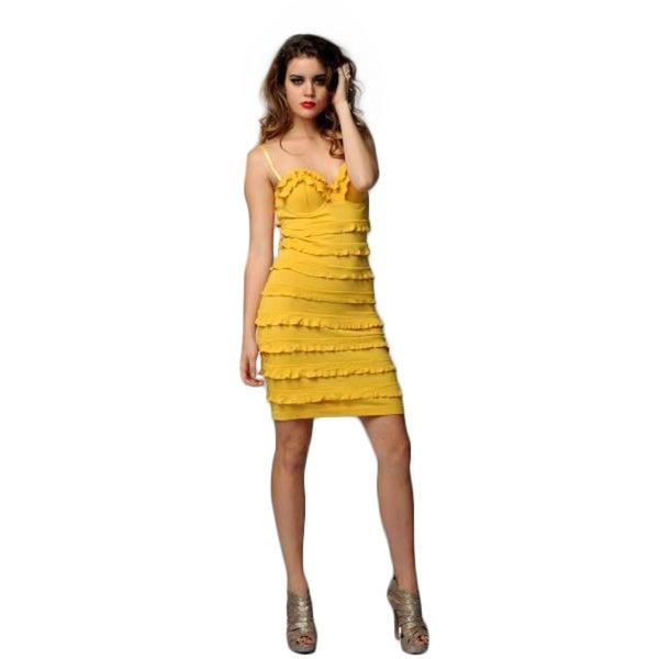 Sara Boo Women's Yellow Ruffle Dress