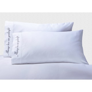 Cotton 'Always Kiss Me Goodnight' Embroidered 500 Thread Count Pillowcase (Set of 2)