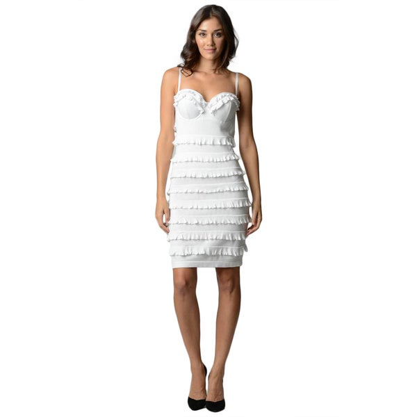 Sara Boo Women's White Ruffle Dress