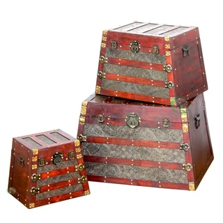 Antique Wooden Pyramid Trunks (Set of 3)