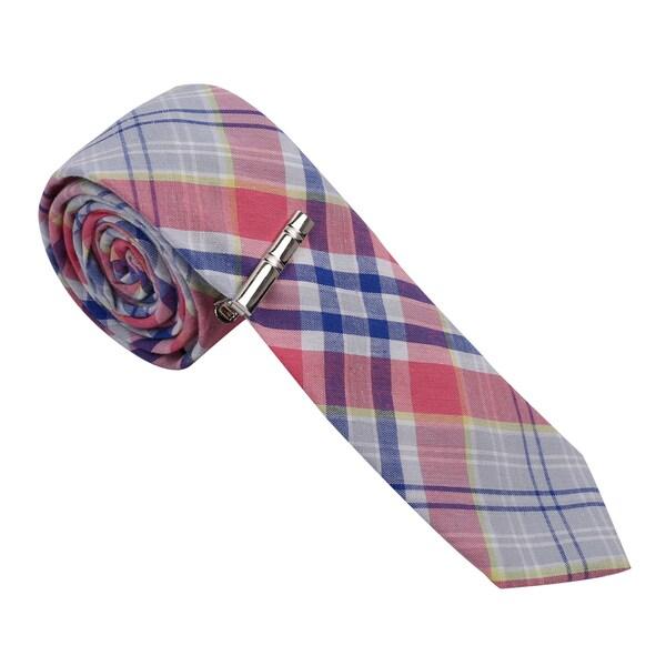 Skinny Tie Madness Men's Cotton Plaid Skinny Tie with tie clip