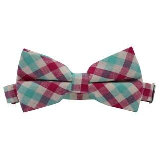 Skinny Tie Madness Men's Pink Cotton Plaid Pretied Bowtie