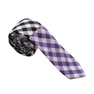 Skinny Tie Madness Men's Cotton Colorblocked Skinny Tie