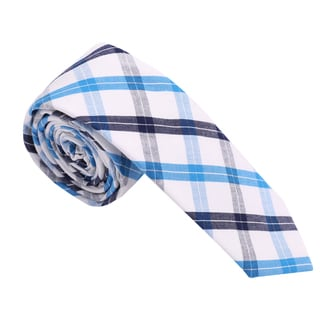 Skinny Tie Madness Men's Cotton Plaid Skinny Tie
