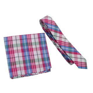 Skinny Tie Madness Men's Cotton Skinny Tie with Matching Pocket Square