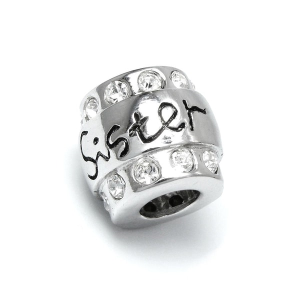 Sterling Silver Cubic Zirconia Sister European Bead Charm