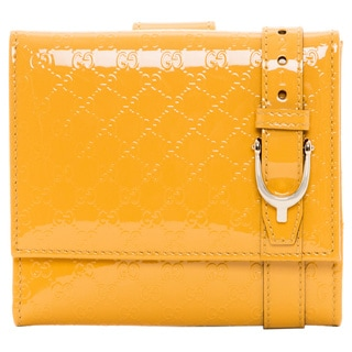 Gucci Microguccissima Yellow Patent Leather French Wallet