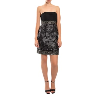 Sue Wong Gorgeous Black Beaded Empire Waist Strapless Cocktail Dress
