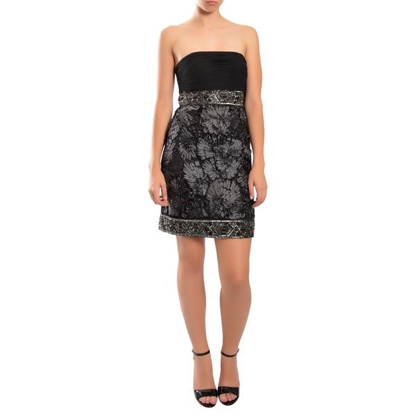 Sue Wong Gorgeous Black Beaded Empire Waist Strapless Cocktail Dress
