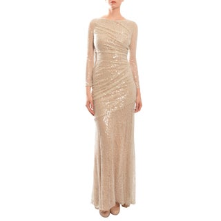 Carmen Marc Valvo Lace Sequin Ruched Mermaid Evening Dress