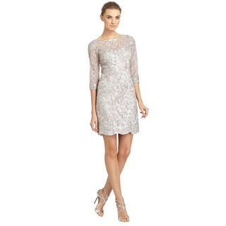 Sue Wong Platinum Floral Ribbon Applique Lace Sheath Cocktail Dress