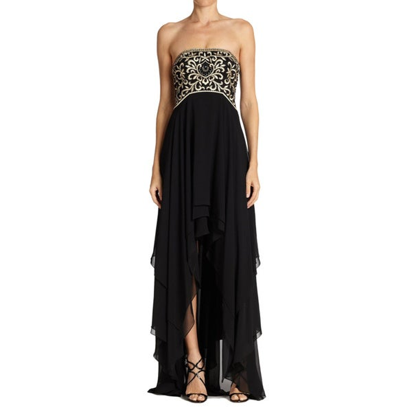 Sue Wong Black Embroidered Bodice Chiffon High Low Dress