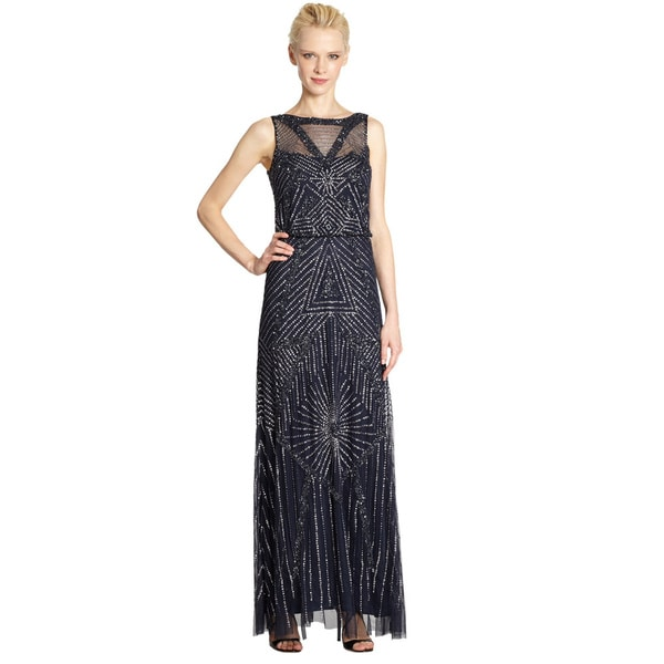Aidan Mattox Allover Beaded Embroidered Navy Blue Chiffon Gown