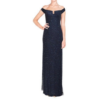 Aidan Mattox Fully Beaded Sequin Navy Blue Evening Gown
