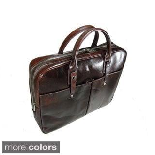 Castello Italian Leather Top Zip Briefcase