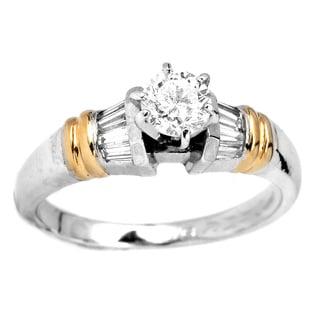 Platinum and 18k Yellow Gold 3/4ct TDW Diamond Engagement Ring (H-I, Si3)