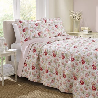 Laura Ashley Cotton Peony Garden Rose Reversible 3-piece Quilt Set