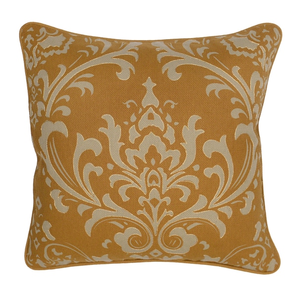 Paisley Floral Crown 20-inch Decorative Mustard Throw Pillow