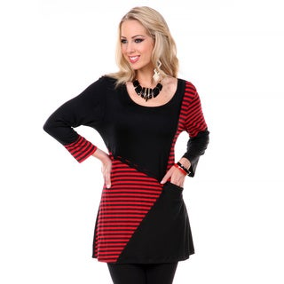 Women's Black and Red Striped Panel Tunic