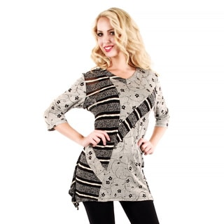 Women's Grey Floral and Striped 3/4-sleeve Top
