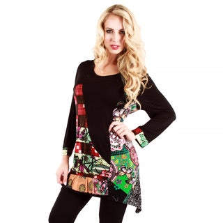 Women's Black and Multicolored Patchwork Tunic