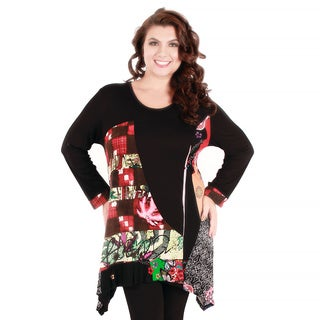 Women's Plus Size Black and Multicolored Patchwork Tunic