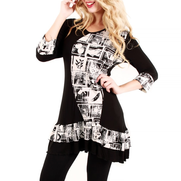 Firmiana Women's Black and White Printed Ruffle-hem Tunic