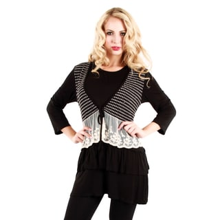 Women's Black and White Lace Panel Tunic
