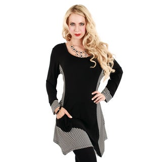 Women's Black and White Striped-panel Trapeze Tunic