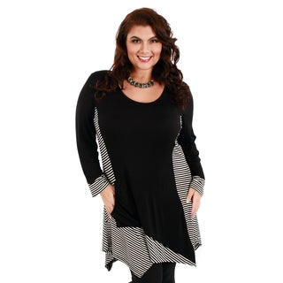 Firmiana Women's Plus Size Black and White Striped-panel Trapeze Tunic