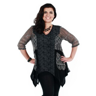 Women's Plus Size Grey Lace and Mesh Trapeze Tunic
