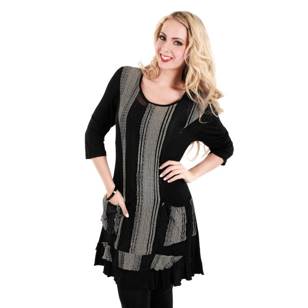Firmiana Women's Black and Grey Vertical-panel Tunic