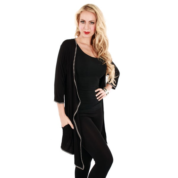 Firmiana Women's Black Long-line Open Front Cardigan