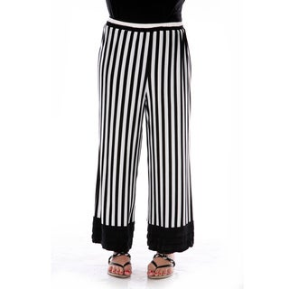 Women's Black and White Striped Loose Dress Pants