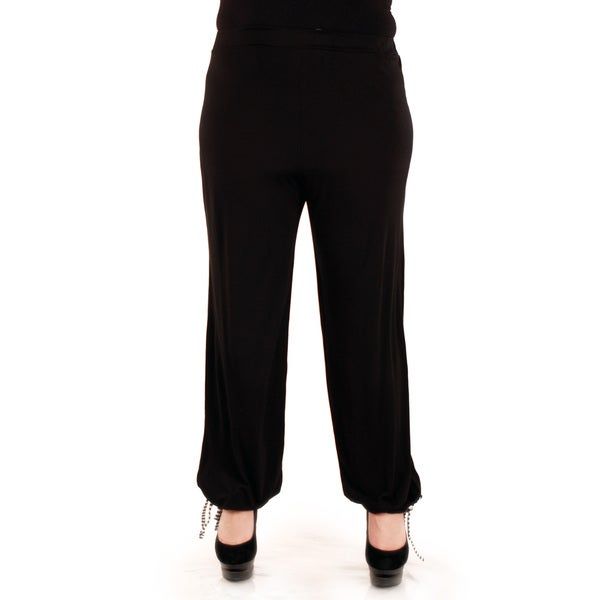 Firmiana Women's Plus Size Black Loose Dress Pants
