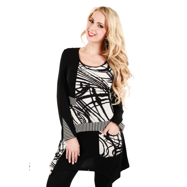 Firmiana Women's Black and White Stroke Print Long Sleeve Top