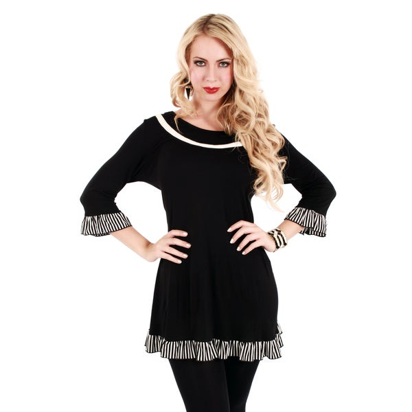 Firmiana Women's Black Ruffled 3/4-sleeve Tunic