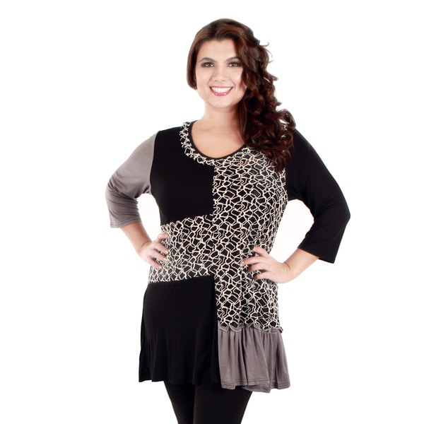 Firmiana Women's Plus Size Black and Grey Patchwork Ruffled-hem Tunic