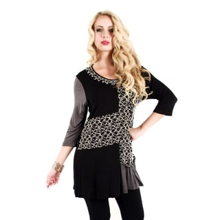 Women's Black and Grey Patchwork Style Tunic
