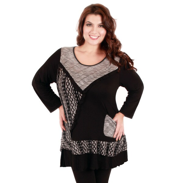 Firmiana Women's Plus Size Black and Beige Patchwork Ruffled-hem Tunic
