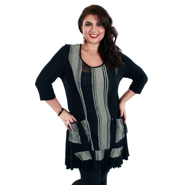 Firmiana Women's Plus Size Black and Grey Knit Panel Tunic