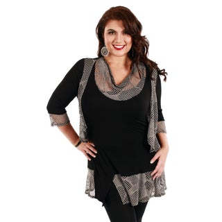 Women's Plus Size Black and Grey Mesh Mixed Top