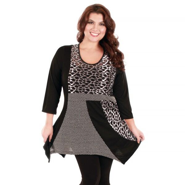 Firmiana Women's Plus Size Mixed Animal Print Tunic