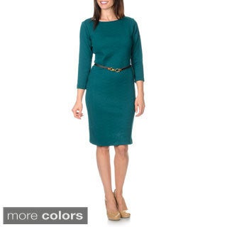 Sharagano Women's Chevron Jacquard Belted Shift Dress