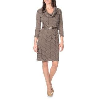Sharagano Noir Women's Pointelle Knit Belted Shift Dress
