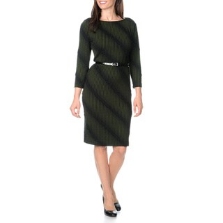 Sharagano Women's Belted Novelty Knit Shift Dress