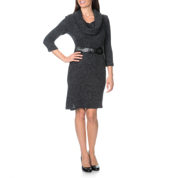 Sharagano Women's Belted Textured Rib Knit Shift Dress
