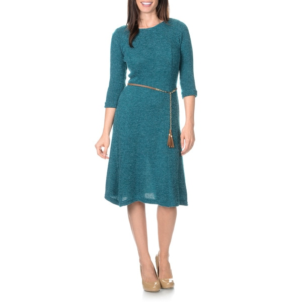 Sharagano Women's Tassel Belted Textured Rib Knit Shift Dress