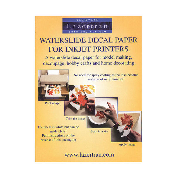 water slide paper Waterslide decal paper for inkjet or laser printers create your own decals with ease just print on the paper apply the acrylic spray and let it dry soak it in water and apply the decal on your project.