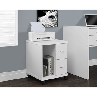 White Hollow Core 2-drawer Castor Computer Stand